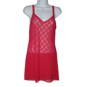 B Tempt'd Pink Lace Sleeveless Chemise Nightgown